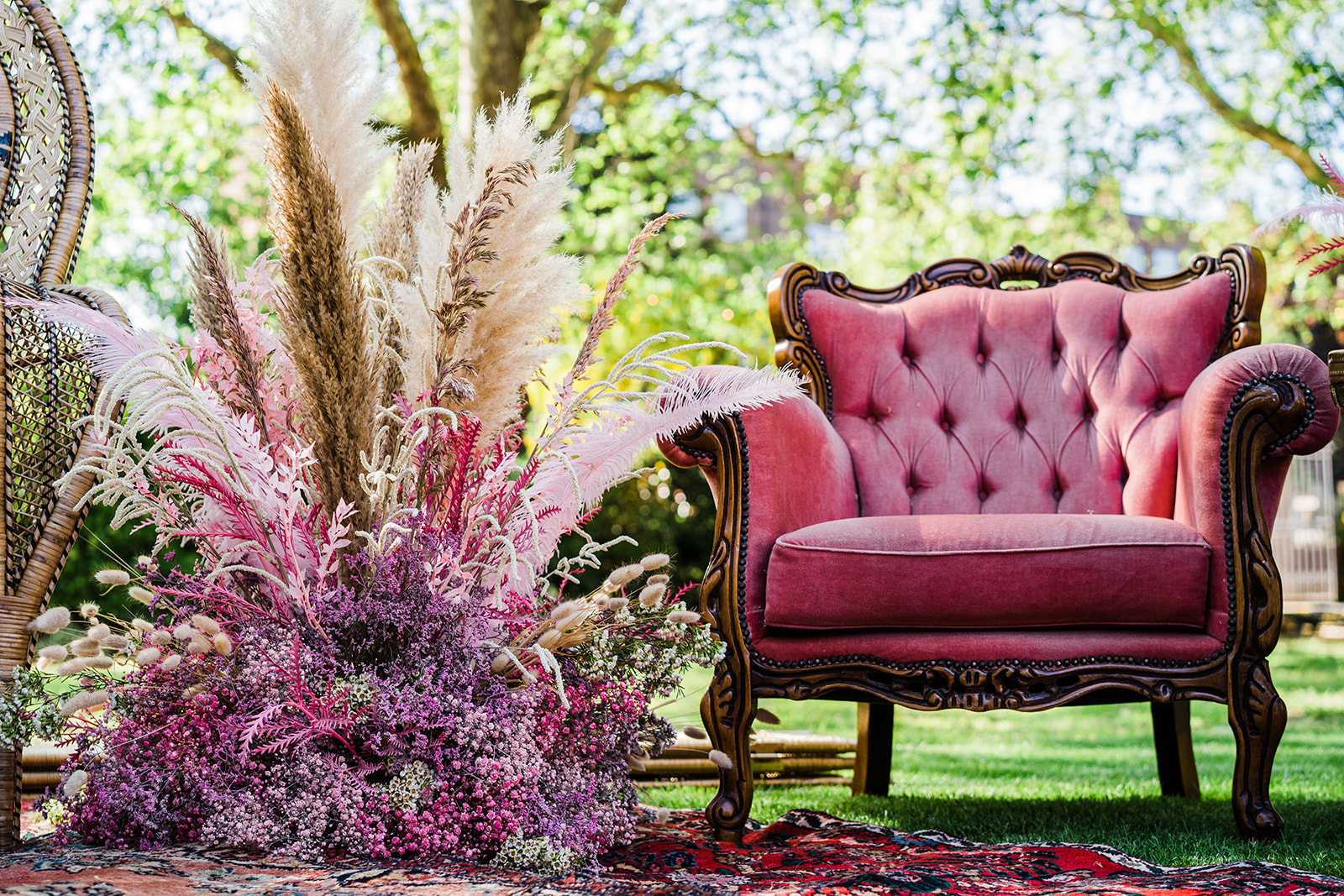 Chair, feathers, scenery